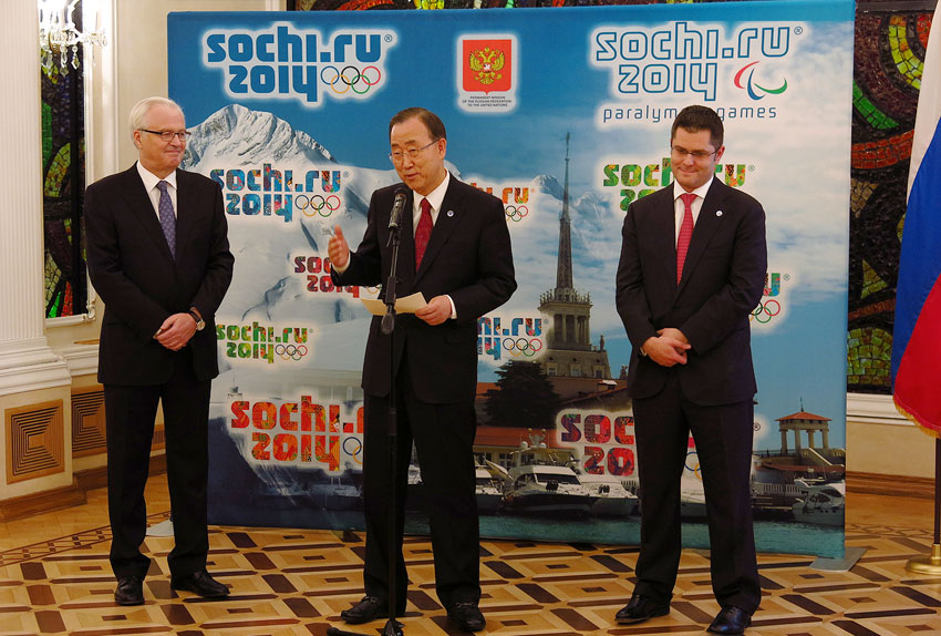 Secretary-General Ban Ki-moon (C), Ambassador Vitaly Churkin of Russia (L) and General Assembly President Vuk Jeremic kick off countdown to Sochi Winter Olympics. UN Photo/N. Krastev