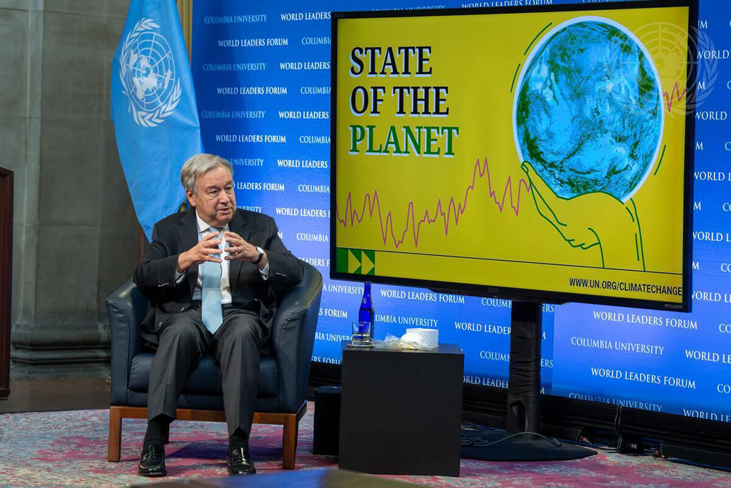 Secretary-General António Guterres discusses the State of the Planet at Columbia University in New York City. UN Photo/Eskinder Debebe