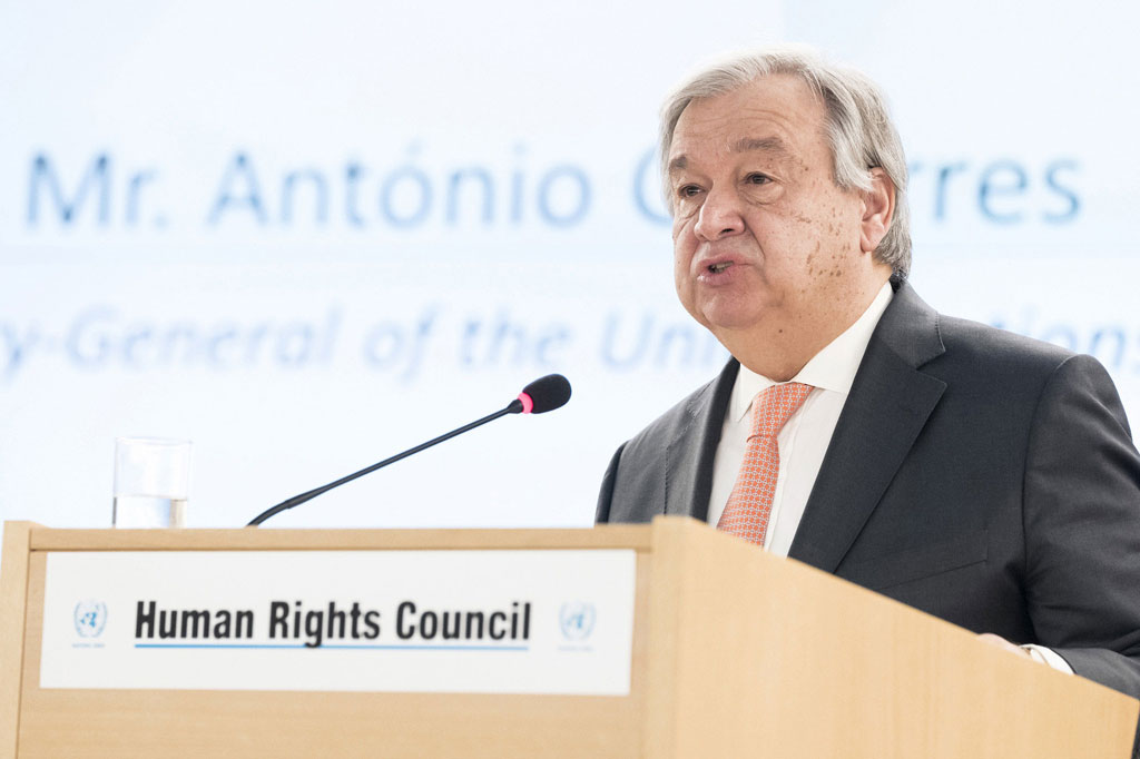 Secretary-General António Guterres addresses the High-Level Segment of the 37th Session of the UN Human Rights Council. UN Photo/Jean-Marc Ferré