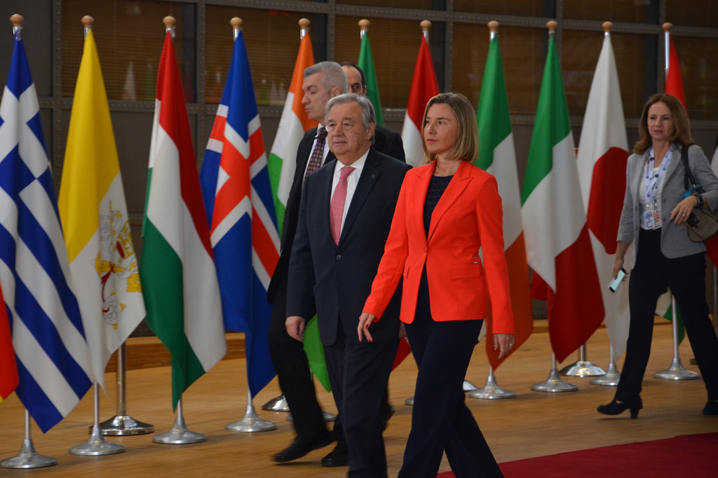 Secretary-General António Guterres joined by Federica Mogherini, European Union High Representative for Foreign Affairs at the Brussels Conference on Supporting the Future of Syria and the Region. UN/Christophe Verhellen