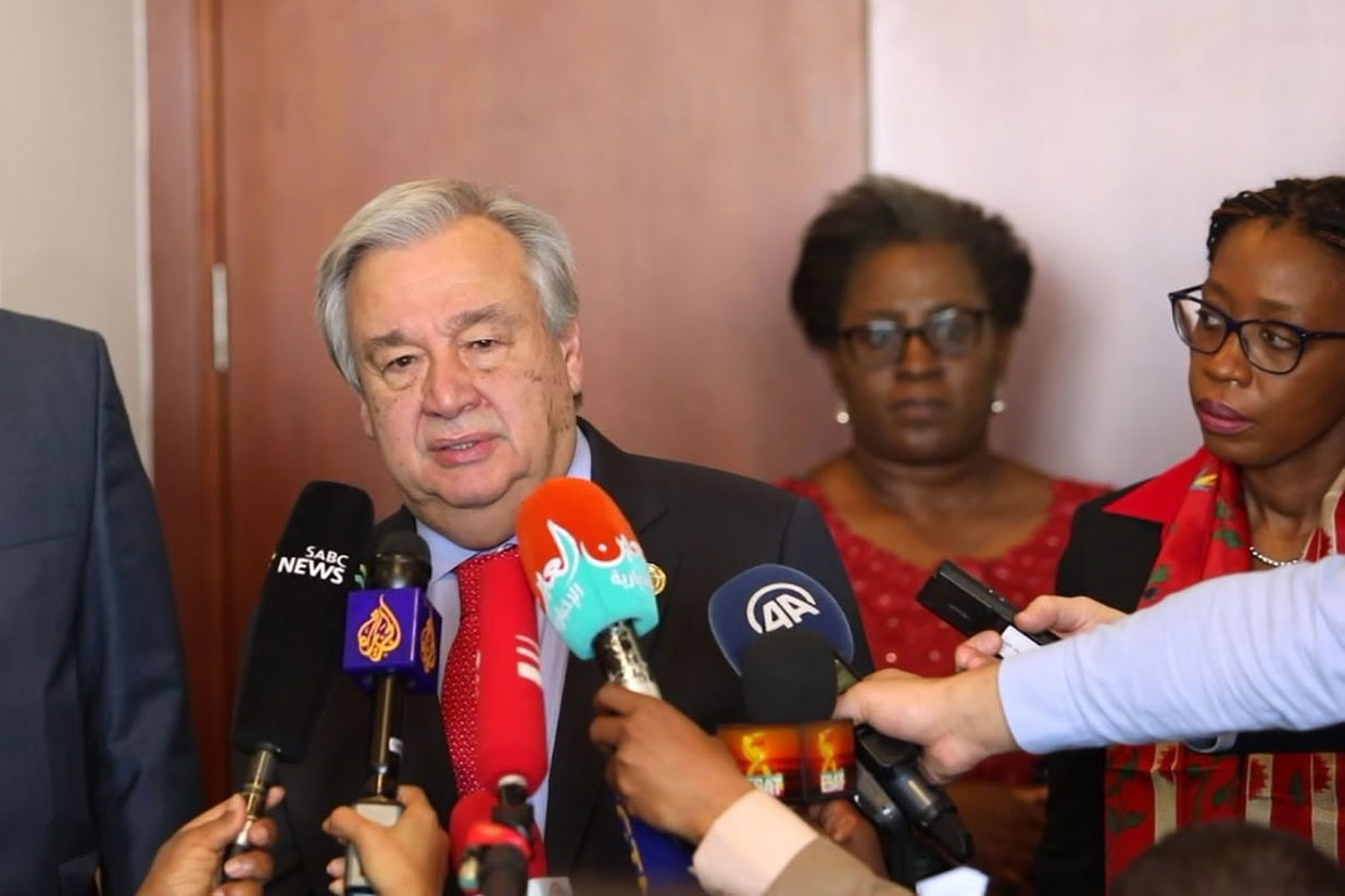 Secretary-General António Guterres briefs the press in Addis Ababa, Ethiopia, following a meeting with Moussa Faki Mahamat (left), Chairperson of the African Union Commission. UN News/Video screen grab