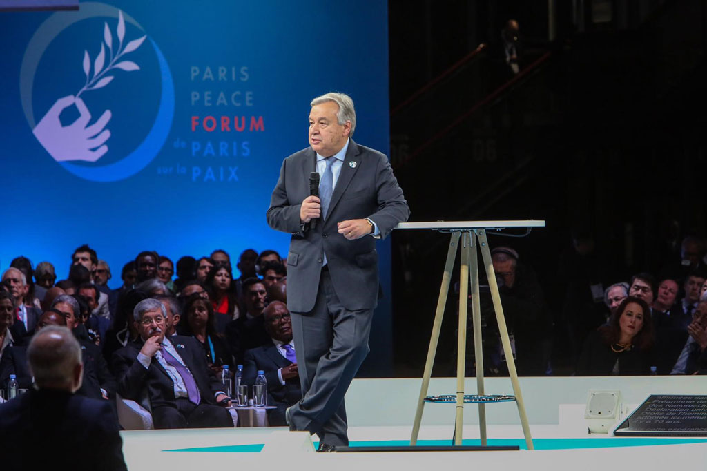 Secretary-General António Guterres addresses the first Paris Peace Forum which commemorated 100 years since the end of the First World War. UNESCO/Luis Abad