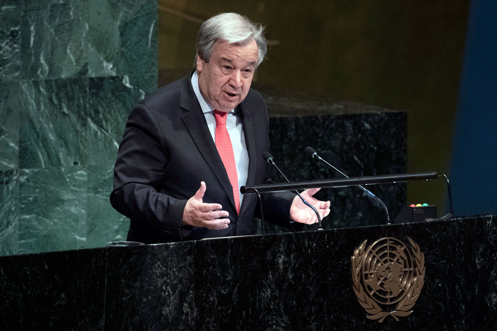 Secretary-General António Guterres addresses the opening of the 63rd session of the Commission on the Status of Women at UN Headquarters. UN Photo/Evan Schneider