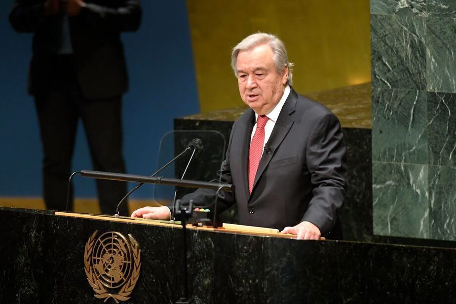 António Guterres addresses the General Assembly after his appointment for a second five-year term as Secretary-General of the United Nations. UN Photo/Evan Schneider