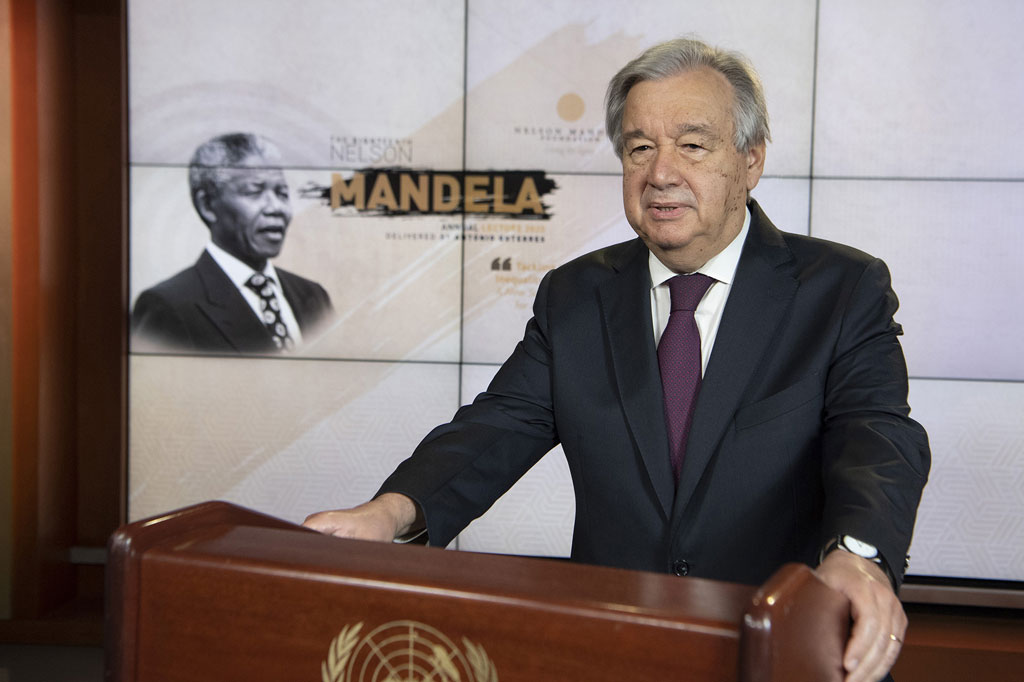 Secretary-General António Guterres delivers the 18th Nelson Mandela Annual Lecture virtually on Nelson Mandela International Day (18 July). UN Photo/Eskinder Debebe