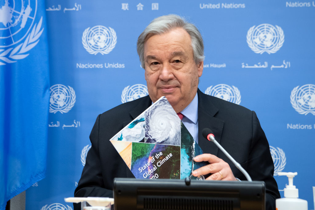 Secretary-General António Guterres presents a report on the State of the Global Climate in 2020 at UN Headquarters in New York. UN Photo/Eskinder Debebe