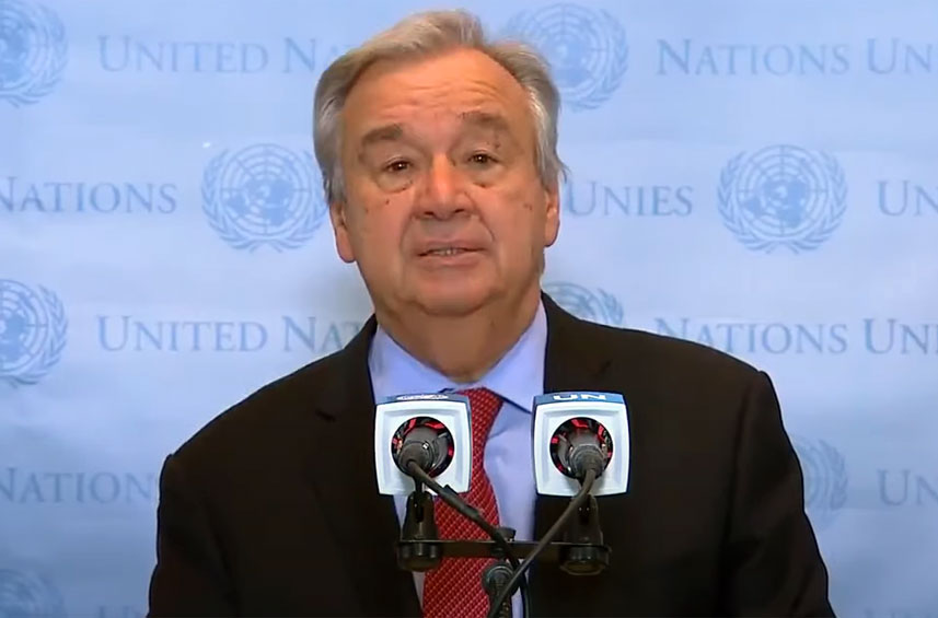 Secretary-General António Guterres addresses the media following the ceasefire announcement between Gaza and Israel.