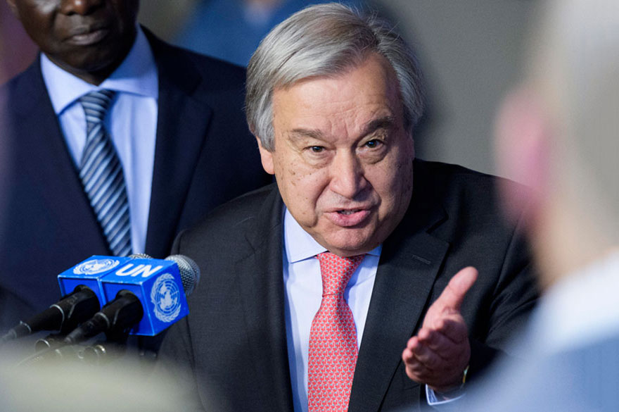 Secretary-General António Guterres briefs the press following the launch of the United Nations Strategy and Plan of Action on Hate Speech.