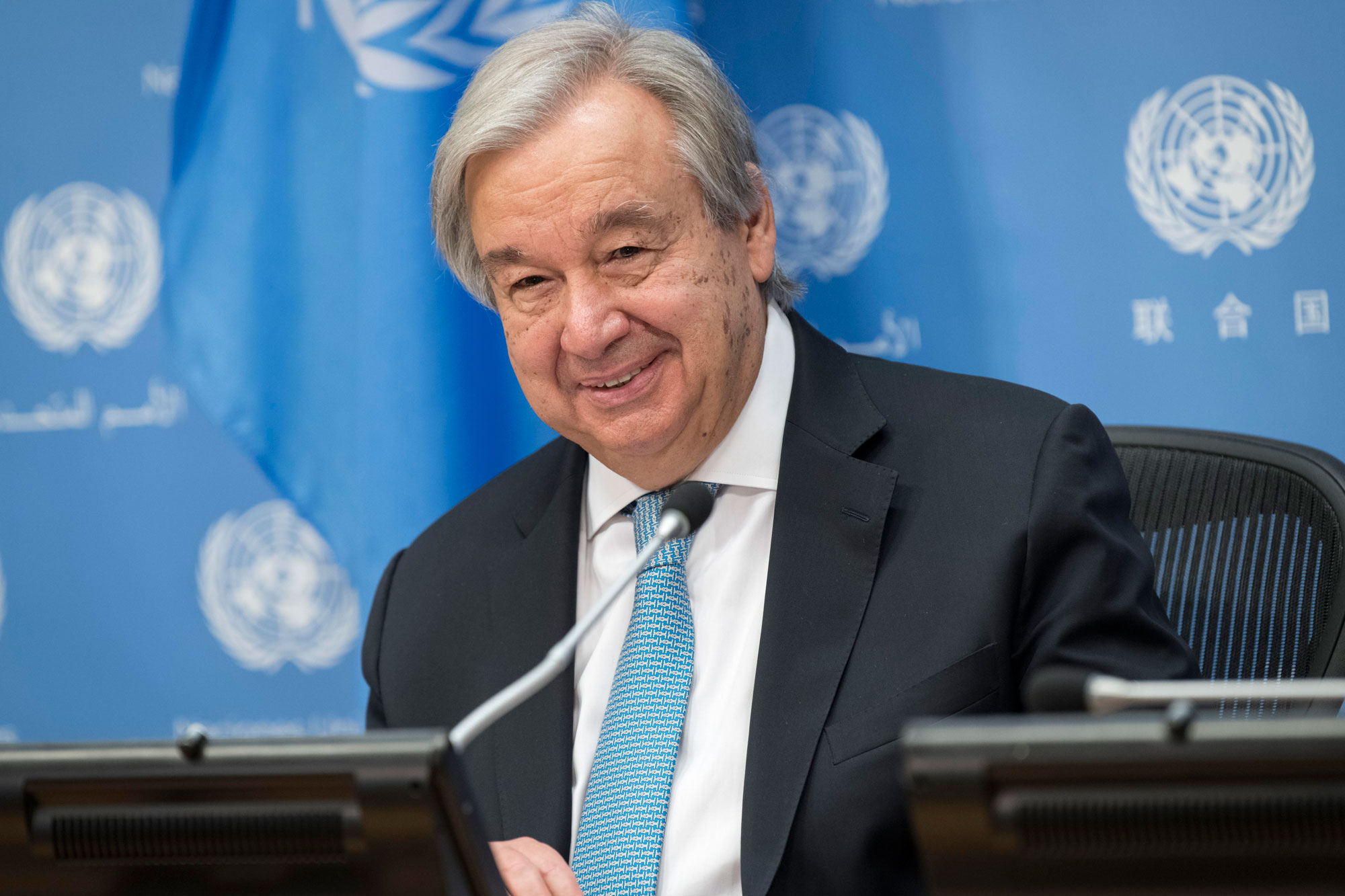 Secretary-General António Guterres briefs reporters on the signing of a ceasefire agreement by the Libyan parties in Geneva under the auspices of the United Nations. UN Photo/Mark Garten