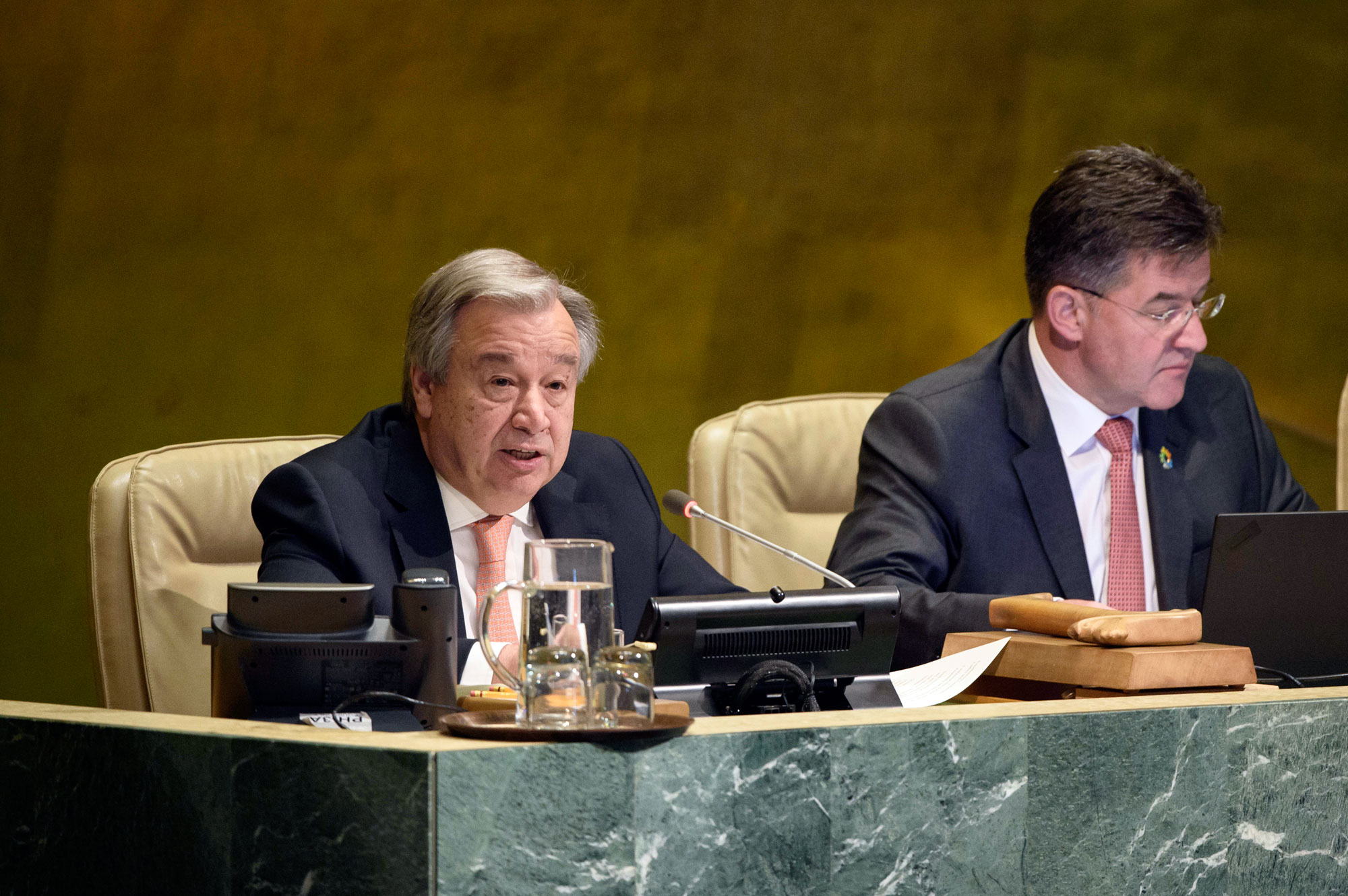 Secretary-General António Guterres (left) addresses the UN General Assembly meeting on the responsibility to protect and the prevention of genocide war crimes ethnic cleansing and crimes against humanity. UN Photo/Loey Felipe