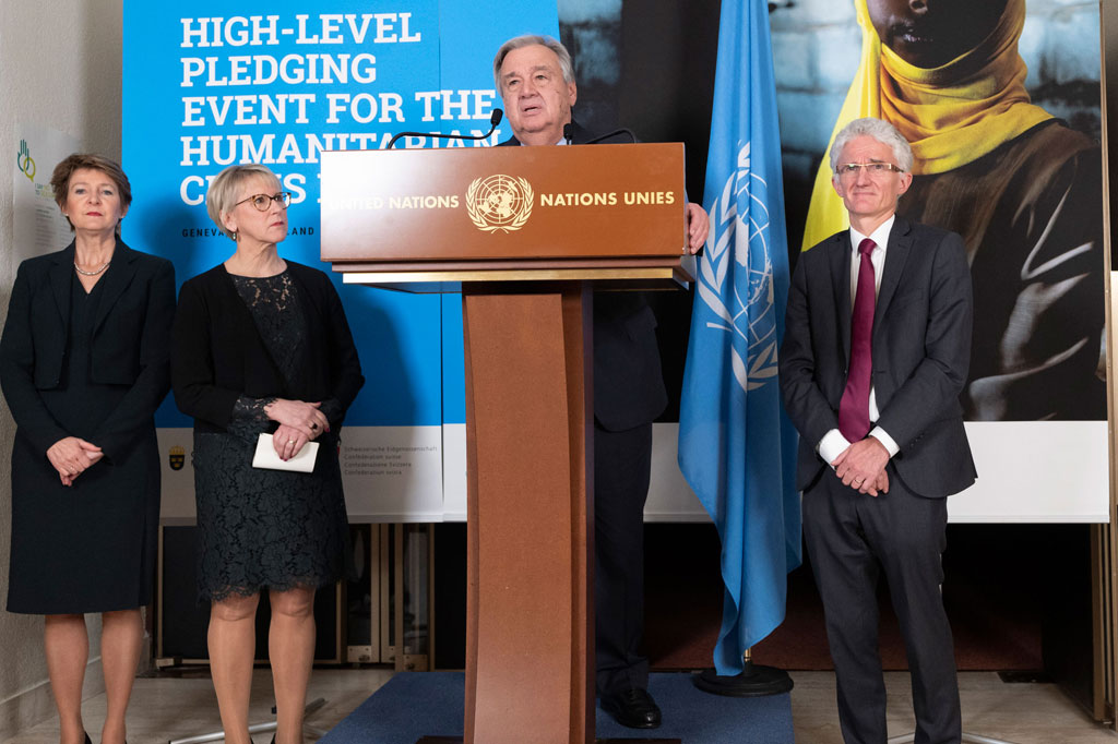 Secretary-General António Guterres (centre) briefs journalists at the High-Level Pledging Event for the humanitarian crisis in Yemen with Vice-President Simona Sommaruga of Switzerland, Foreign Minister Margot Wallström of Sweden and OCHA's Mark Lowcock. UN Photo/Jean Marc Ferré