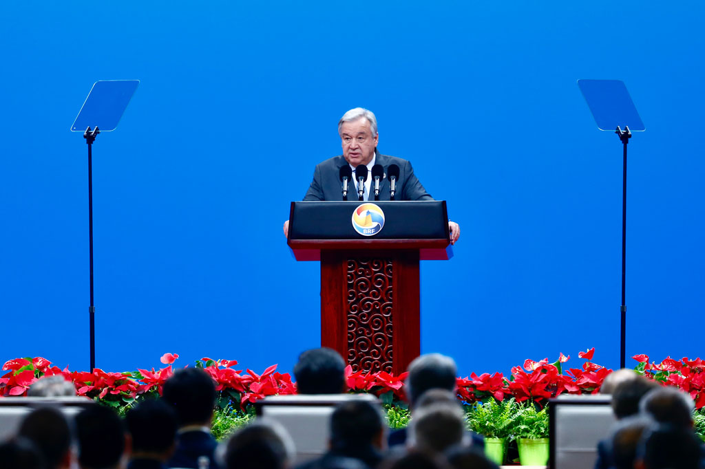 Secretary-General António Guterres addresses the opening of the Belt and Road Forum in Beijing, China. UN Photo/Zhao Yun