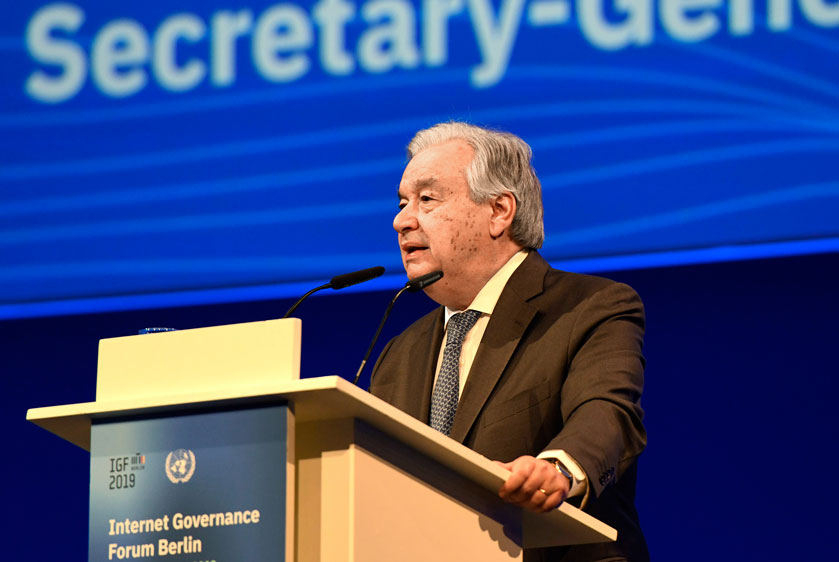 Secretary-General António Guterres addresses the 14th UN Internet Governance Forum, taking place this year in Berlin, Germany. UN Photo/Tobias Hofsaess