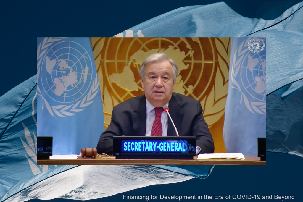 Secretary-General António Guterres delivers welcome remarks to the high-level event on Financing for Development in the Era of COVID-19 and Beyond. UN Photo/Evan Schneider