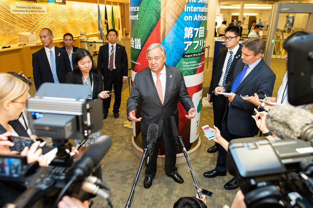 Secretary-General António Guterres addresses the media at the Seventh Tokyo International Conference on African Development (TICAD), taking place in Yokohama, Japan. UN Japan/Ichiro Mae