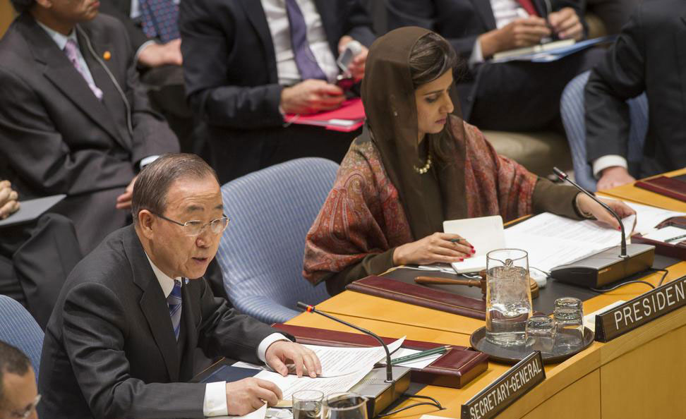 Secretary-General Ban Ki-moon addresses Security Council meeting chaired by Foreign Minister Hina Rabbani Khar of Pakistan. UN Photo/Eskinder Debebe