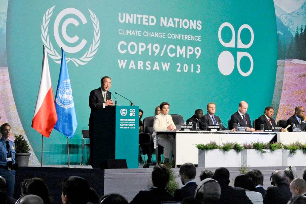 Ban Ki-moon addresses UN climate change conference in Warsaw, urging negotiators to rise to the challenge and pave the way to a binding climate deal by 2015. UN Photo/Evan Schneider