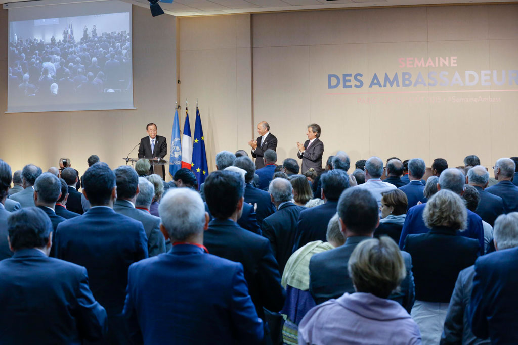 Following his speech at the annual meeting of the Conference of French Ambassadors in Paris, Secretary-General Ban receives a standing ovation. UN Photo/Evan Schneider