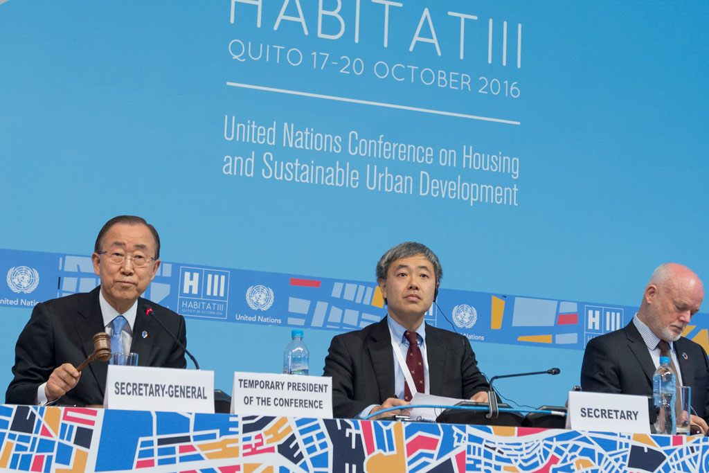 Secretary-General Ban Ki-moon (left) presides over the opening of the United Nations Conference on Housing and Sustainable Urban Development (HABITAT III) in Quito, Ecuador. UN Photo/Eskinder Debebe