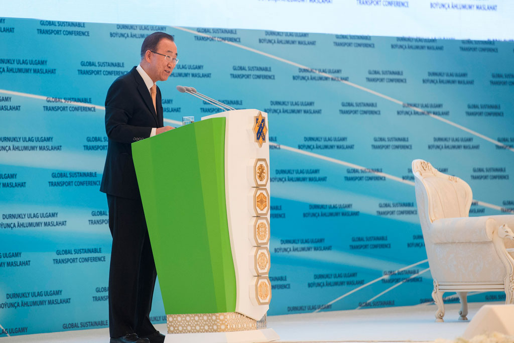 Secretary-General Ban Ki-moon addresses the opening of the UN Global Sustainable Transport Conference, in Ashgabat, Turkmenistan, a two-day conference with the common goal of setting new directions for global transport efforts. UN Photo/Amanda Voisard