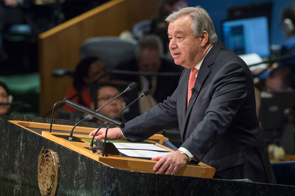 The ninth Secretary-General of the United Nations, António Guterres, addressed the General Assembly on 12 December 2016 after taking the oath of office, which was administered by Peter Thomson, President of the 71st session of the General Assembly. UN Photo/Eskinder Debebe
