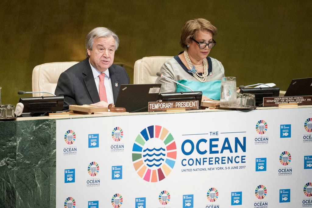 Secretary-General António Guterres addresses the opening of the UN Ocean Conference. UN Photo/Kim Haughton