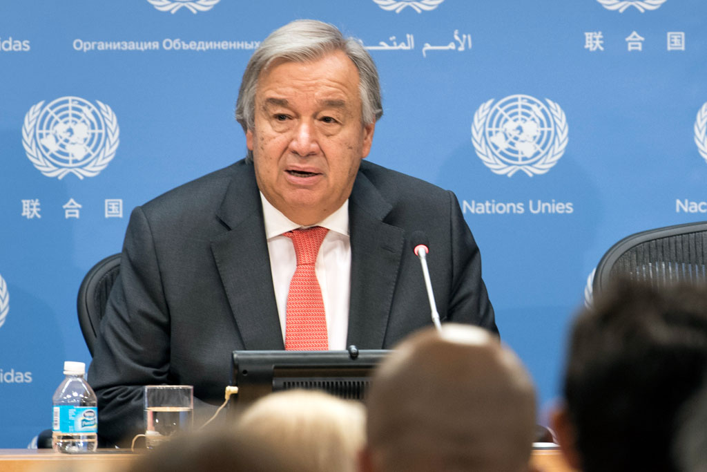 Secretary-General António Guterres addresses a press conference ahead of the general debate of the 72nd session of the General Assembly beginning on 19 September.  UN Photo/Mark Garten