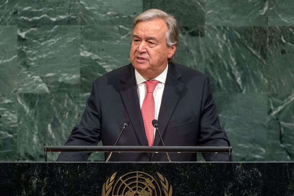 Secretary-General António Guterres presents his annual report on the work of the Organization ahead of the opening of the General Assembly's seventy-second general debate. UN Photo/Cia Pak