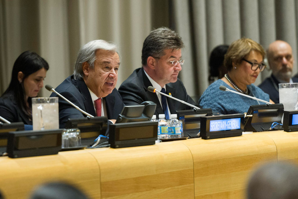 Secretary-General António Guterres (left) addresses the High-level Plenary Meeting for the International Day for the Total Elimination of Nuclear Weapons. UN Photo/Rick Bajornas
