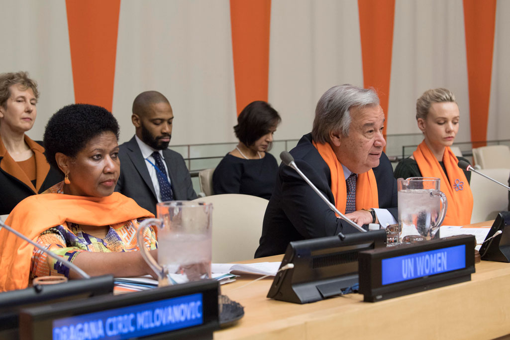 Secretary-General António Guterres (centre) speaks at the UN Official Commemoration of the International Day for the Elimination of Violence against Women event. UN Photo/Eskinder Debebe