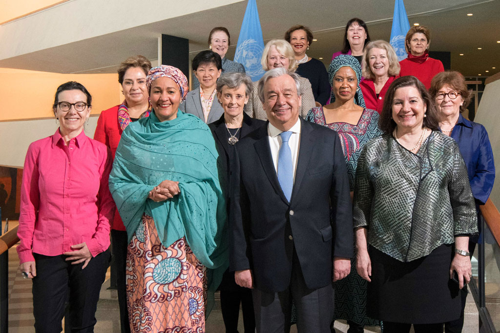 Secretary-General António Guterres (2nd right, front) with women who comprise part of his leadership team of which has achieved gender balance within the Senior Management Group. UN Photo/Mark Garten