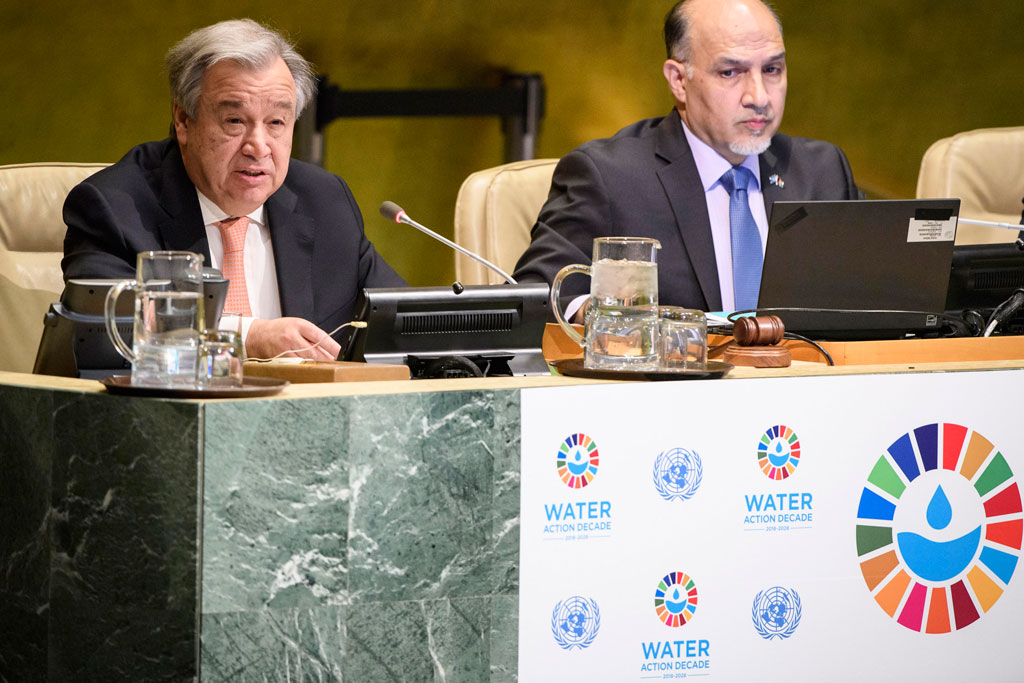"Secretary-General António Guterres (left) makes remarks during the high-level event to launch the International Decade for Action, ""Water for Sustainable Development 2018–2028"". UN Photo/Manuel Elias"