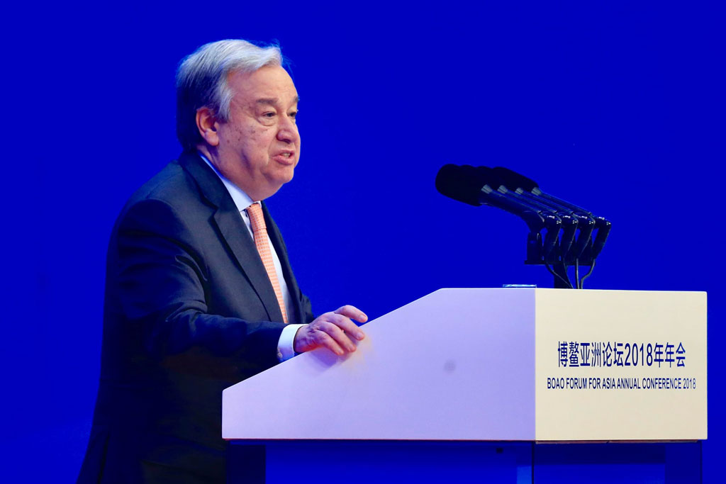 Secretary-General António Guterres delivers remarks at the opening of the 2018 Boao Forum For Asia in Southern China's Hainan Province. UN China/Zhao Yun