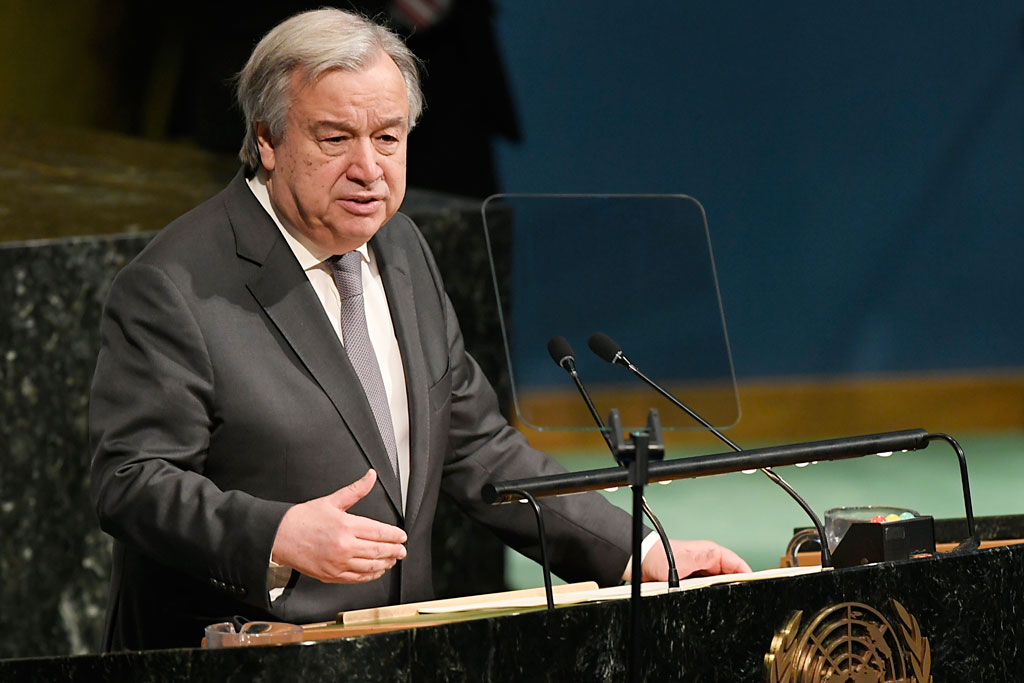 Secretary-General António Guterres addresses the high-level General Assembly plenary meeting on peacebuilding and sustaining peace. UN Photo/Evan Schneider