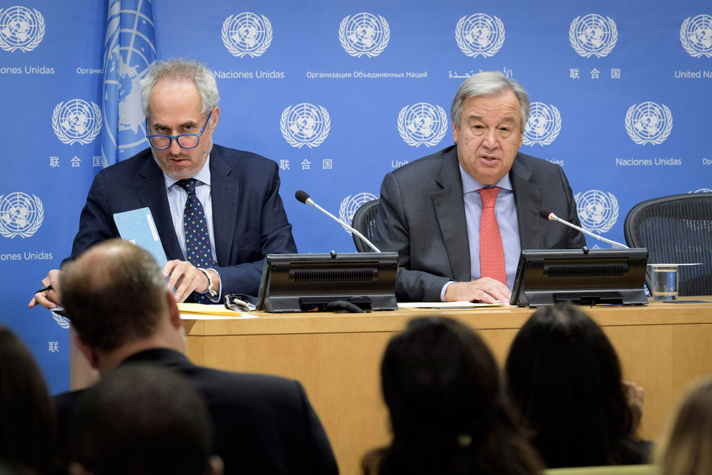 Secretary-General António Guterres (right) briefs press on the occasion of the opening of the seventy-third session of the United Nations General Assembly on 20 September 2018. At left is his Spokesperson Stéphane Dujarric. UN Photo/Manuel Elias