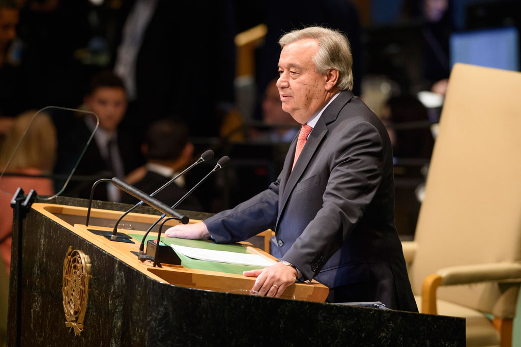 Secretary-General António Guterres presents his annual report on the work of the Organization ahead of the opening of the General Assembly's seventy-third general debate. UN Photo/Loey Felipe