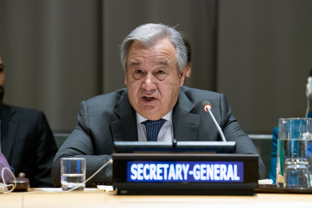 Secretary-General António Guterres briefs the United Nations General Assembly on his priorities for 2019. UN Photo/Eskinder Debebe