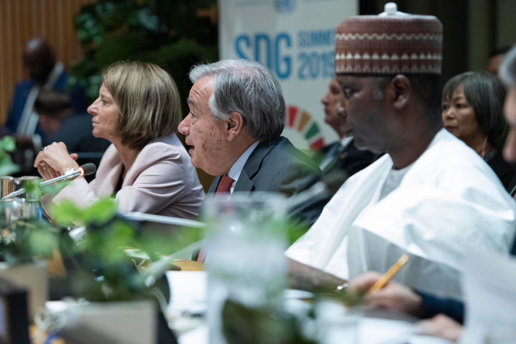 Secretary-General António Guterres (centre) speaks at the opening of the high-level political forum on Sustainable Development under the auspices of the General Assembly. UN Photo/Kim Haughton