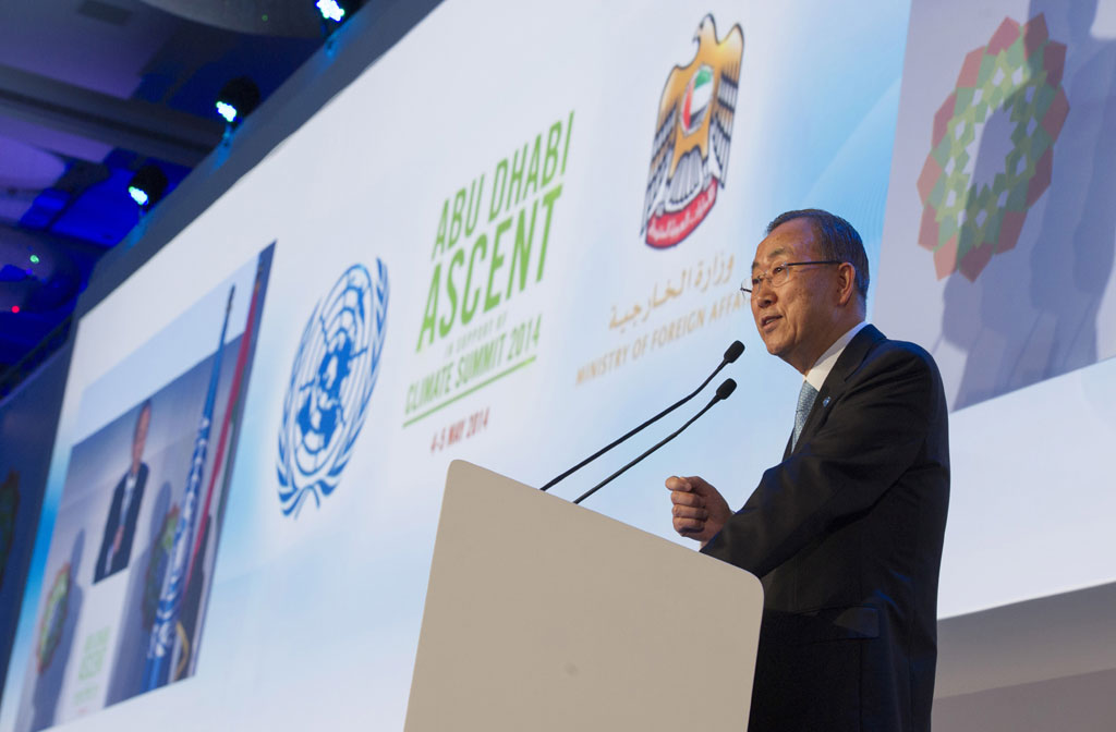"Secretary-General Ban addresses the ""Abu Dhabi Ascent"" climate change conference where he called for urgent action, warning, ""The longer we delay, the more we will pay."" UN Photo/E. Debebe"