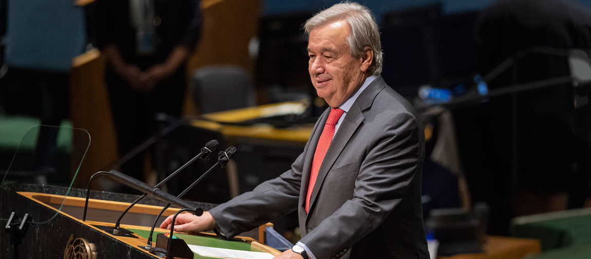 Secretary-General António Guterres addresses the General Assembly high-level plenary meeting to commemorate and promote the International Day for the Total Elimination of Nuclear Weapons. UN Photo/Rick Bajornas