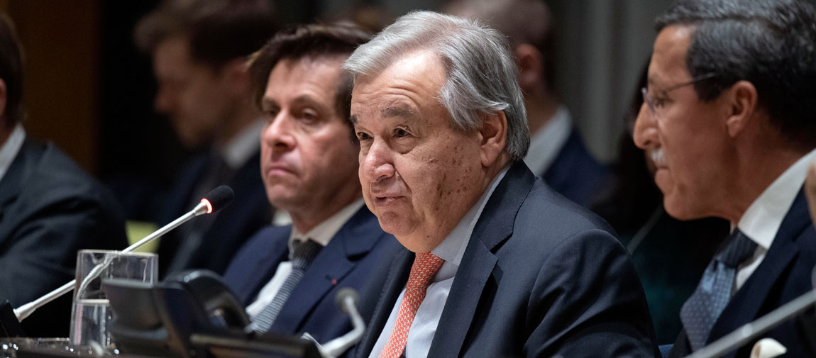 Secretary-General António Guterres (centre) speaks at the meeting of Group of Friends of Climate. At left is Ambassador Nicolas De Rivière of France and at right is Ambassador Omar Hilale of Morocco. UN Photo/Evan Schneider