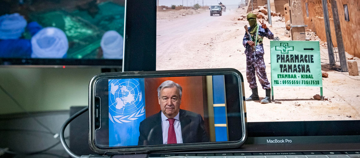 Secretary-General António Guterres holds a virtual press briefing on the impact of his call for a global ceasefire during the COVID-19 outbreak. UN Photo/Loey Felipe