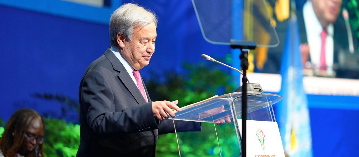 Secretary-General António Guterres addresses the opening of the UN Conference on Trade and Development, known as UNCTAD15, in Bridgetown, Barbados. Photo: UN Barbados and the Eastern Caribbean/Bajanpro