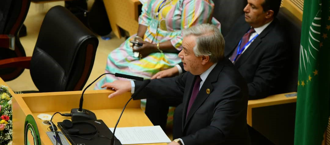 Secretary-General António Guterres addresses the 33rd African Union Summit in Addis Ababa, Ethiopia. Photo: UNECA