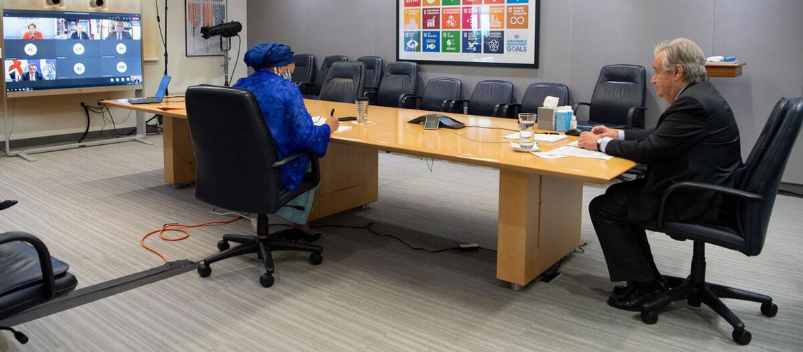 Secretary-General António Guterres (right) and DSG Amina Mohammed meet virtually with Alok Sharma, the incoming President of UN Climate Change Conference COP26. UN Photo/Eskinder Debebe