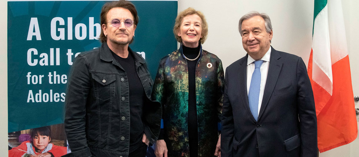 Secretary-General António Guterres (right) meets with Bono (left), Co-Founder of the ONE Campaign and Mary Robinson, Chair of the Elders, prior to the high-level event at the United Nations focused on Girls' Education. UN Photo/Mark Garten