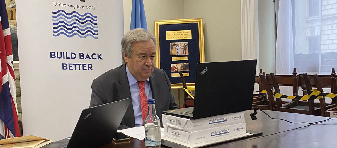 Secretary-General António Guterres briefs the press outlining his expectations for the G7 summit taking place in the UK. Photo: United Nations