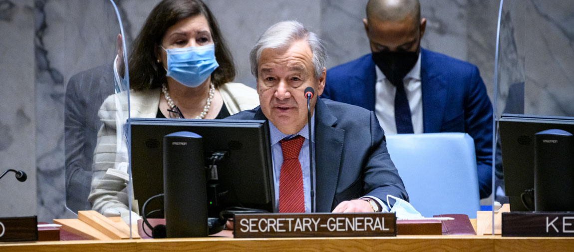 Secretary-General António Guterres addresses UN Security Council meeting on peacebuilding and sustaining peace. UN Photo/Loey Felipe