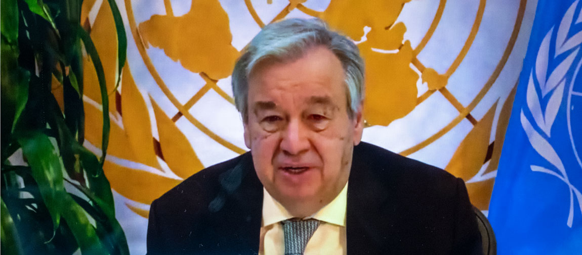 Secretary-General António Guterres holds a virtual townhall meeting with Women's Civil Society participants during the Commission on the Status of Women. UN Photo/Loey Felipe