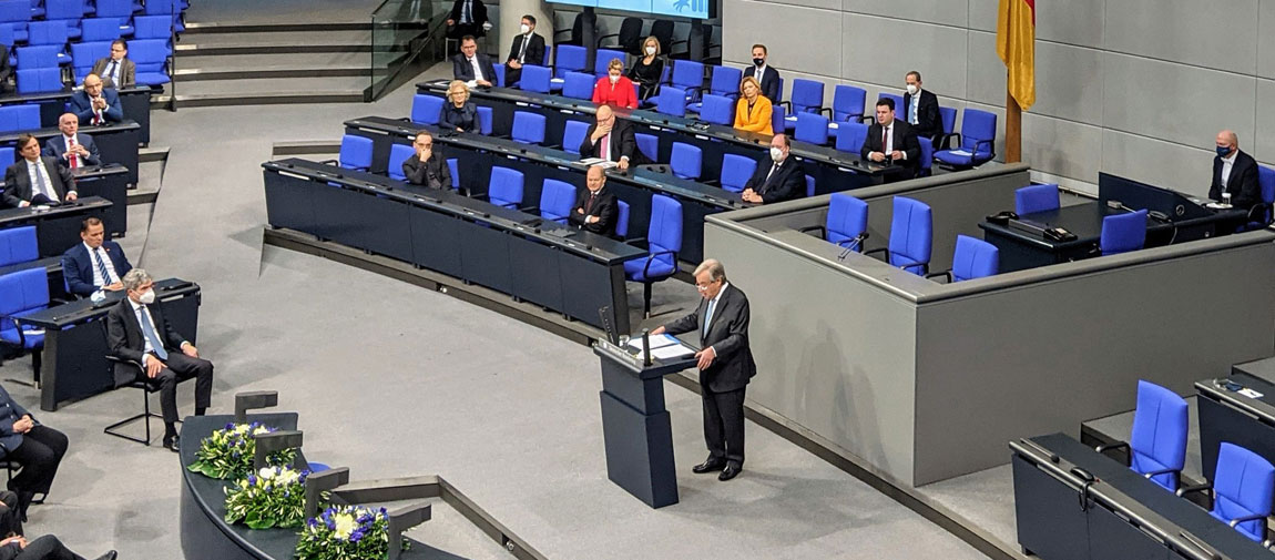 Secretary-General António Guterres addresses the Bundestag, the German parliament in Berlin. United Nations/Florencia Soto Nino